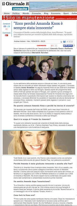 Amanda Knox article in Italian paper quotes Anne Bremner