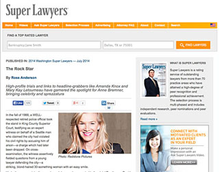 Super Lawyers magazine article about Anne Bremner