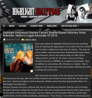 Highlight Hollywood names Anne Bremner Nation's Legal Advocate of 2015